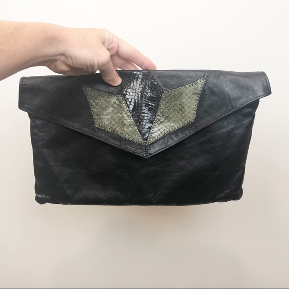 Handbags - Soft Leather Clutch • Black and Green snakeskin